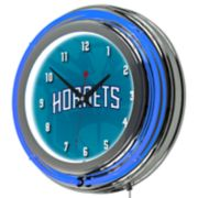 Charlotte Hornets Chrome Double-Ring Neon Wall Clock