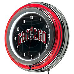 Chicago Bulls Chrome Double-Ring Neon Wall Clock
