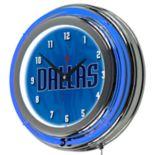 Dallas Mavericks Chrome Double-Ring Neon Wall Clock