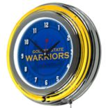 Golden State Warriors Chrome Double-Ring Neon Wall Clock