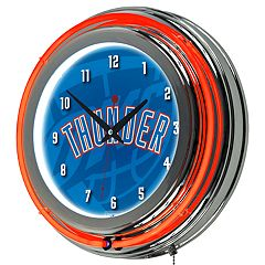 Oklahoma City Thunder Chrome Double-Ring Neon Wall Clock