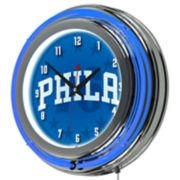 Philadelphia 76ers Chrome Double-Ring Neon Wall Clock