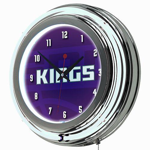 Sacramento Kings Chrome Double-Ring Neon Wall Clock
