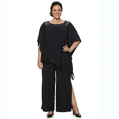 Plus Size Le Bos Asymmetrical Shawl & Pants Set
