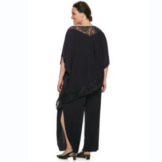 Plus Size Le Bos Asymmetrical Shawl & Pants Set