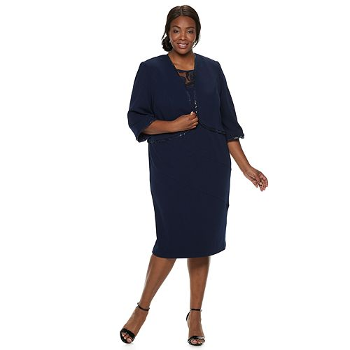 Plus Size Maya Brooke Embroidery Dress & Jacket Set