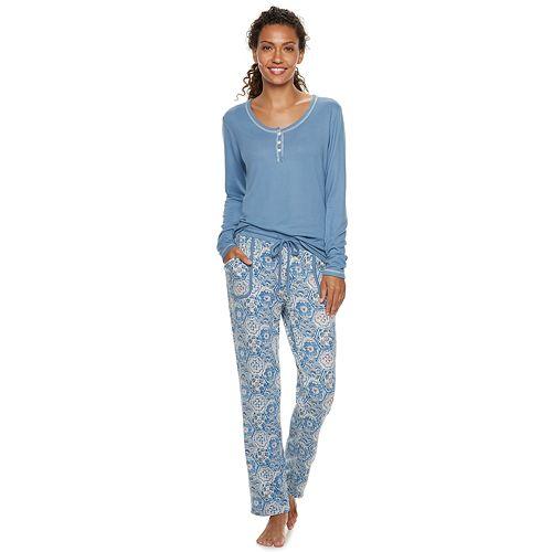 Women's INK + IVY Henley Tee & Pants Pajama Set