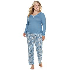 Plus Size INK + IVY Henley Tee & Pants Pajama Set