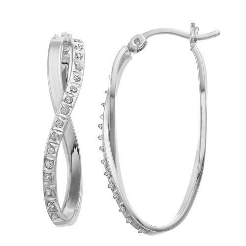 Diamond Mystique Platinum Over Silver Oval Infinity Hoop Earrings