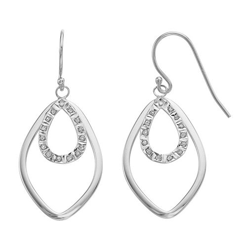 Diamond Mystique Platinum Over Silver Accent Double Marquise Teardrop Earrings