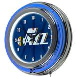Utah Jazz Chrome Double-Ring Neon Wall Clock