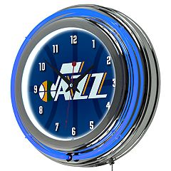 Utah Jazz Chrome Double-Ring Neon Wall Clock