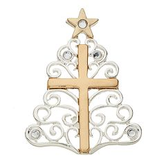 Two Tone Cross & Christmas Tree Pin