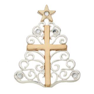 Two Tone Cross & Christmas Tree Pin