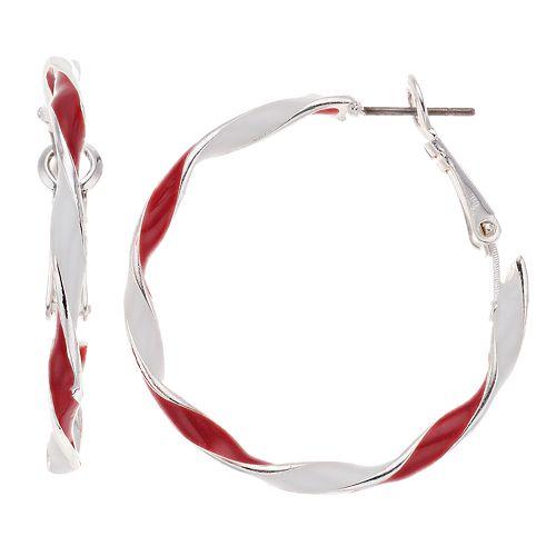 Red & White Stripe Twist Nickel Free Hoop Earrings