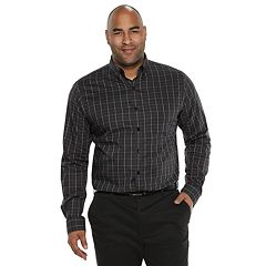 Big & Tall Van Heusen Flex Non-Iron Classic-Fit Windowpane Button-Down Shirt