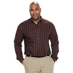 Big & Tall Van Heusen Flex Non-Iron Classic-Fit Windowpane Button-Down Shirt