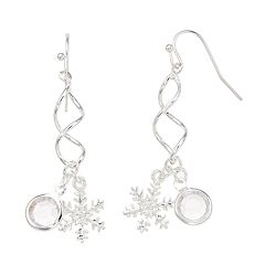 Simulated Crystal & Snowflake Nickel Free Twist Drop Earrings