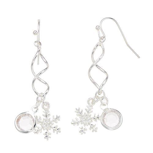 Simulated Crystal & Snowflake Nickel Free Twist Drop Earrings
