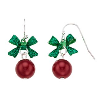 Red Ornament & Green Glitter Bow Christmas Nickel Free Drop Earrings