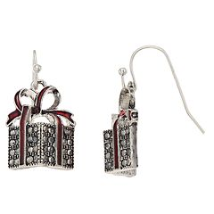 Red Bow Gift Box Nickel Free Drop Earrings