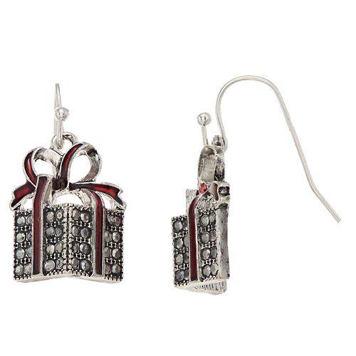 Red Bow Gift Box Nickel Free Drop Earrings
