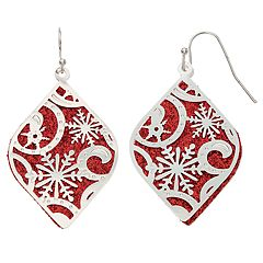 Red Sparkle & Snowflake Nickel Free Drop Earrings