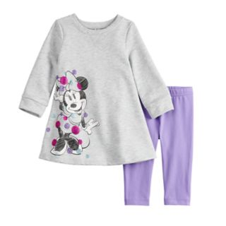 Disney's Minnie Mouse Baby Girl French Terry Swing Dress & Leggings Set