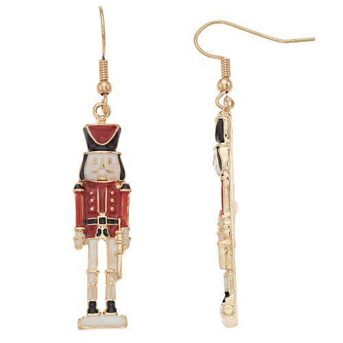 Red & Gold Tone Nutcracker Nickel Free Drop Earrings