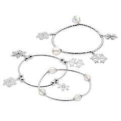 Clear Bead & Snowflake Charm Stretch Bracelet Set