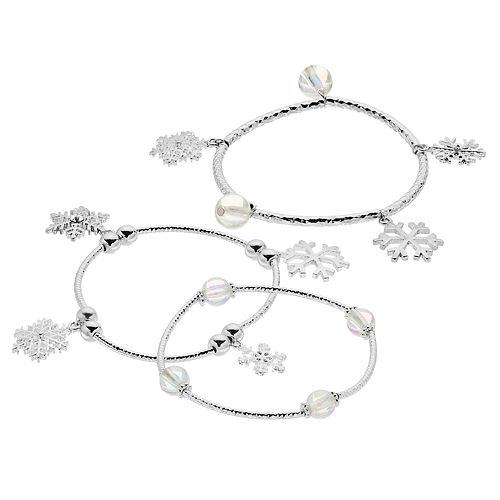 Clear Bead & Snowflake Charm Stretch Bracelet Set