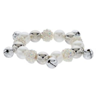 Simulated Pearl & Silver Tone Bell Stretch Bracelet