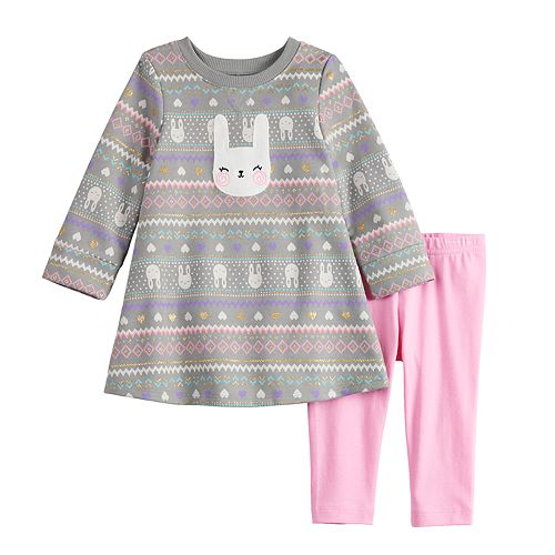Baby Girl Jumping Beans® Glittery Print French Terry Swing Dress & Leggings Set