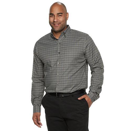 Big & Tall Van Heusen Flex Non-Iron Classic-Fit Plaid Button-Down Shirt