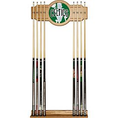 Boston Celtics Logo Framed Mirror Pool Cue Holder