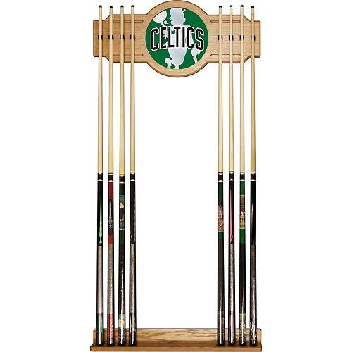 Boston Celtics Logo Framed Mirror Pool Cue Holder
