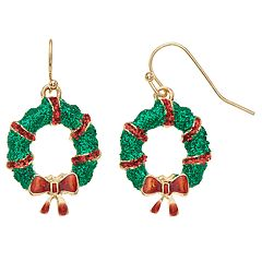 Green Glitter Wreath Nickel Free Drop Earrings