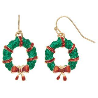 Green Glitter Wreath Nickel Free Drop Earrings