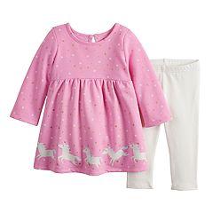 Baby Girl Jumping Beans® Graphic Fleece Dress & Leggings Set