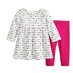 Baby Girl Jumping Beans® Graphic Fleece Dress & Leggings Set