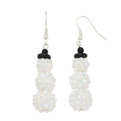 White Bead Cluster Snowman Nickel Free Drop Earrings
