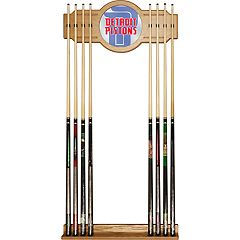 Detroit Pistons Logo Framed Mirror Pool Cue Holder