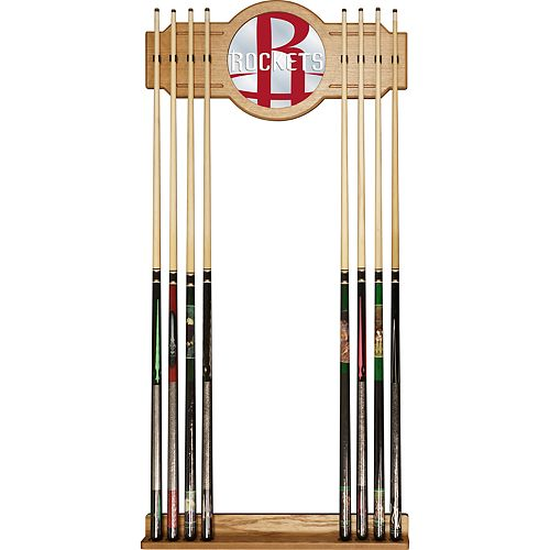 Houston Rockets Logo Framed Mirror Pool Cue Holder