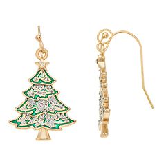 Simulated Crystal Christmas Tree Charm Nickel Free Drop Earrings
