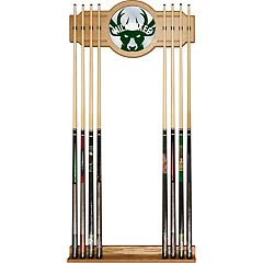 Milwaukee Bucks Logo Framed Mirror Pool Cue Holder