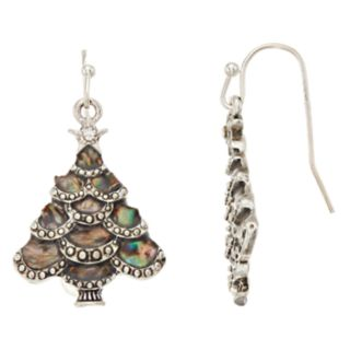 Simulated Abalone Christmas Tree Nickel Free Drop Earring