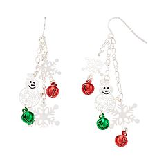 Red & Green Bell Snowman & Snowflake Nickel Free Drop Earrings