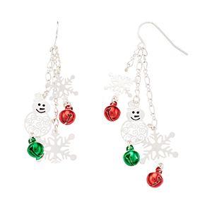 Red & Green Bell Snowman & Snowflake Nickel Free Drop Earrings