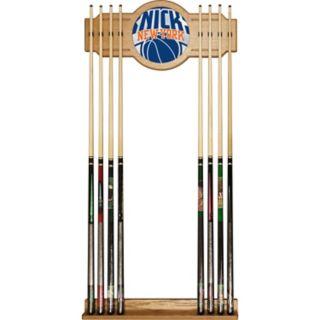 New York Knicks Logo Framed Mirror Pool Cue Holder