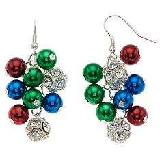 Simulated Stone & Multi Colored Bead Cluster Nickel Free Drop Earrings